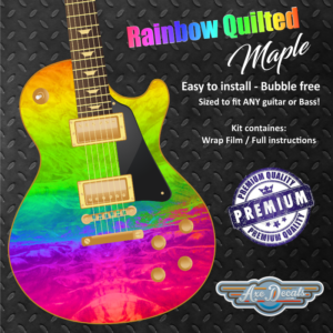 Rainbow Quilted Maple Guitar Wrap Skin