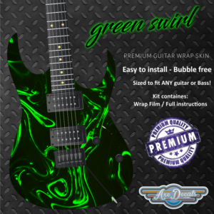 Green Swirl Guitar Wrap Skin
