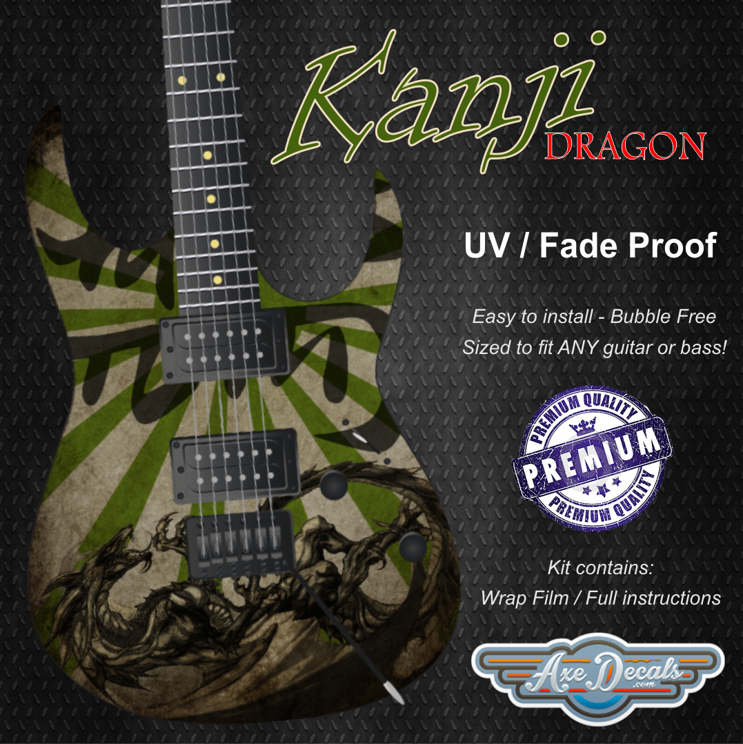 Kanji Dragon Guitar Wrap Skin