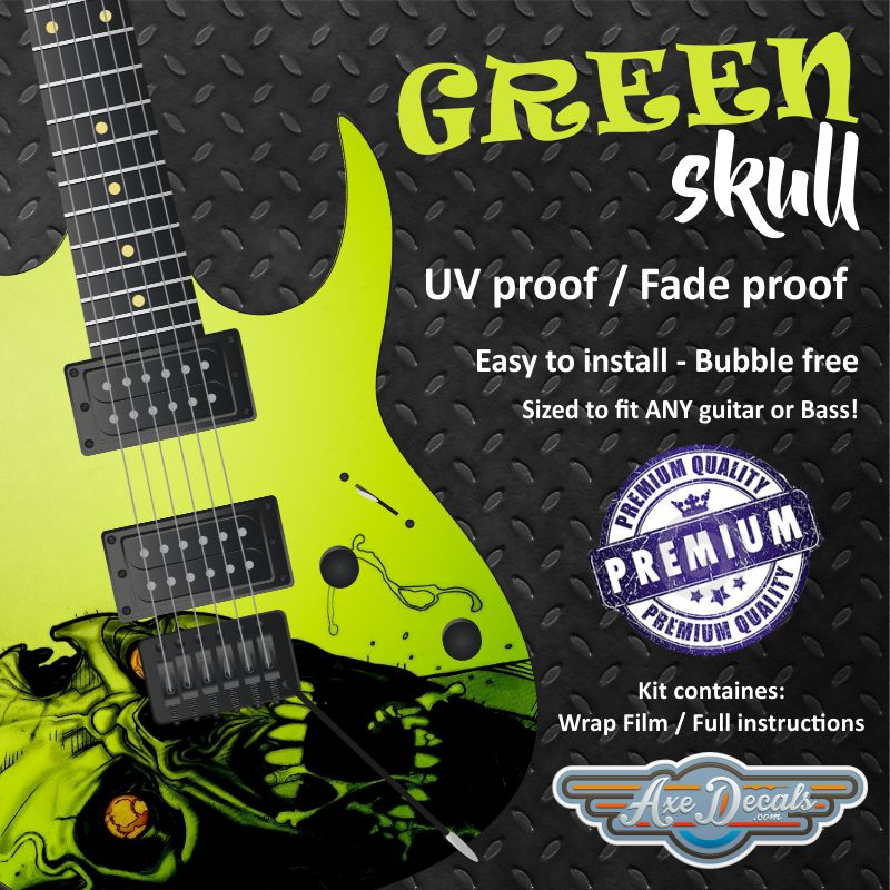 Green Skull Guitar Wrap Skin