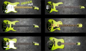 Green Skull Guitar Wrap Skin
