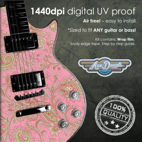 Pink Paisley Guitar Wrap Skin