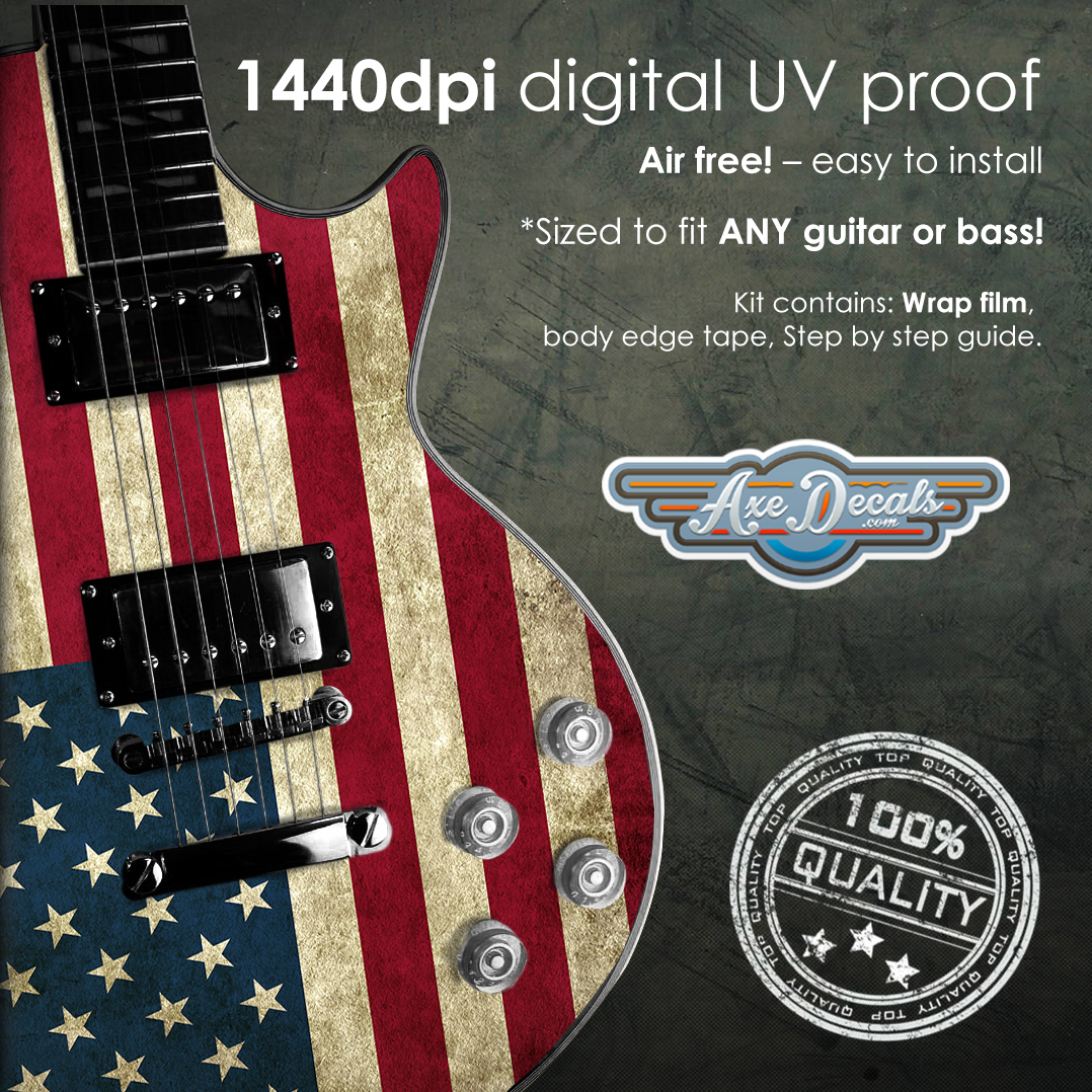 USA Flag Guitar Wrap Skin