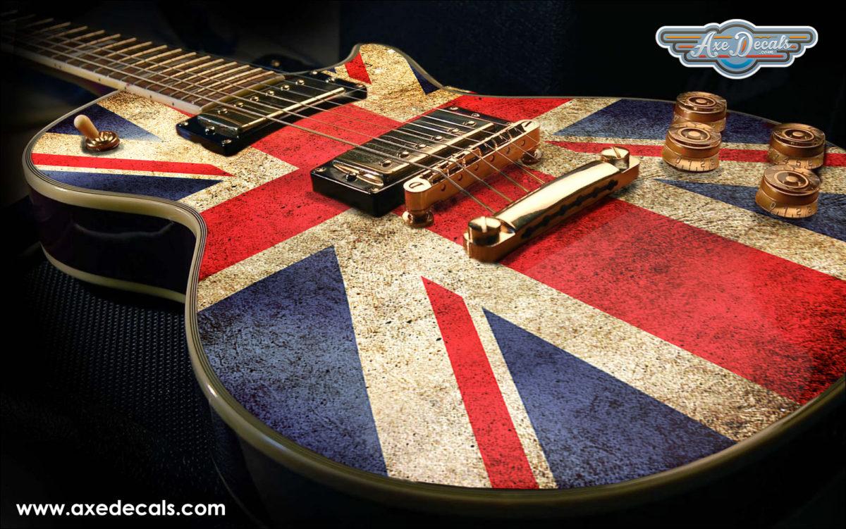 union jack flag guitar wrap skin guitar skin guitar wrap axedecals. Black Bedroom Furniture Sets. Home Design Ideas