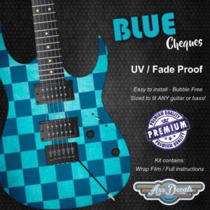 Blue Cheques Guitar Wrap Skin