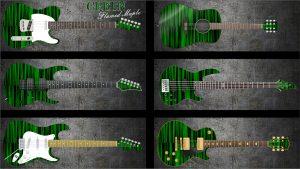 Green Flame Maple Guitar Wrap Skin