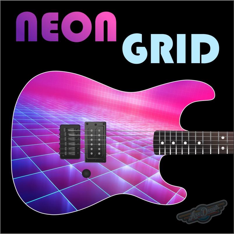 Neon Grid Guitar Wrap Skin